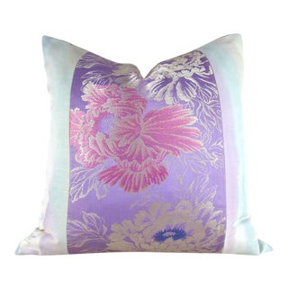 Antique Japanese Silk Purple Peony Obi Pillow Cover For Sale