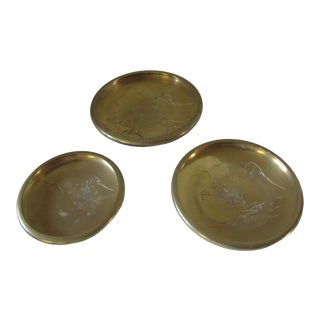 Vintage Brass Chinoiserie Stacking Plates For Sale