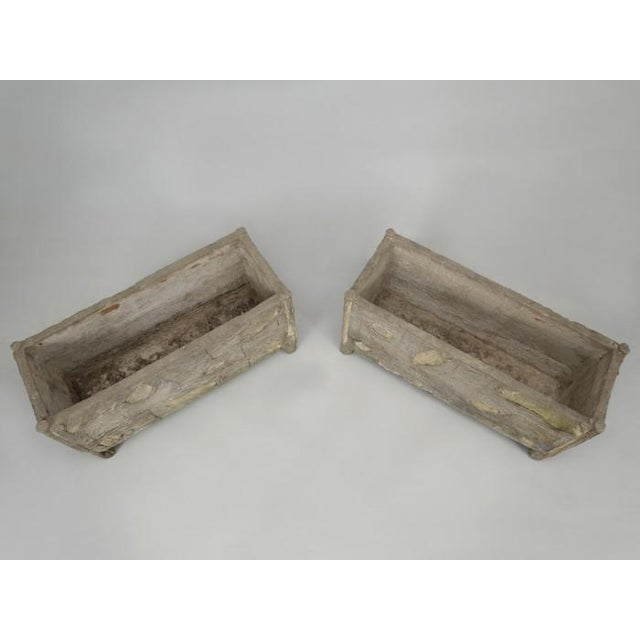 1930s Rare Pair of Vintage French Faux Bois Planters For Sale - Image 5 of 13