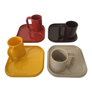 Mid Century Modern Molded Plastic Earth Tone Lunch Set - 8 Pieces
