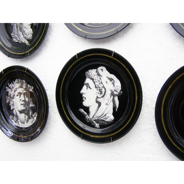 Fornasetti Style Neoclassical Black Glass Wall Plates - Set of 6 Mid-Century Modern MCM - Image 4 of 11