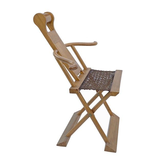 Chinese Elm Wood Wool Seat Wide Arm Folding Armchair For Sale - Image 4 of 8