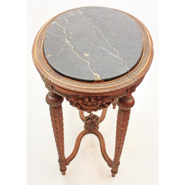 Oval Deco Carved Fruitwood Occasional Table For Sale - Image 4 of 7