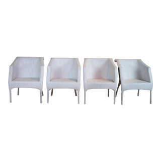 Selamat White Whicker Chairs - Set of 4 For Sale