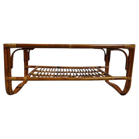 70's Albini Style Rattan Coffee Table With Glass For Sale