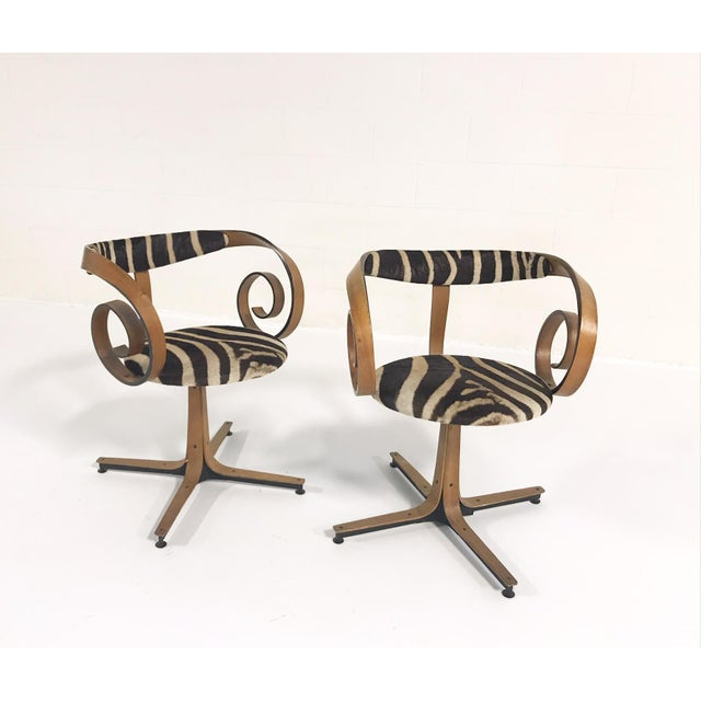 Brown George Mulhauser for Plycraft Sultana Chairs Restored in Zebra Hide - Pair For Sale - Image 8 of 11