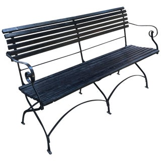 English Iron and Wood Folding Garden Bench For Sale