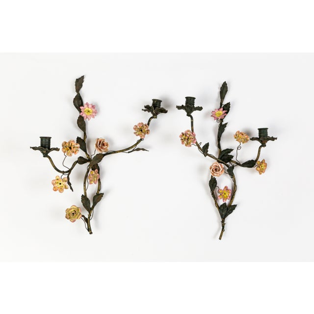 Tole and Porcelain Floral Wall Hanging Candle Holders - A Pair For Sale - Image 13 of 13