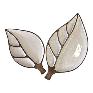 Mid-Century Treasure Craft Leaf Plates - A Pair