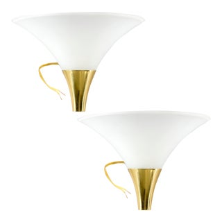 Hollywood Regency Style Trumpet Shaped White Glass and Brass Sconces - a Pair