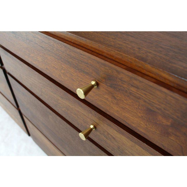 Solid Oiled Walnut Seven Drawers Double Dresser Brass Pulls Tapered Legs For Sale - Image 4 of 13