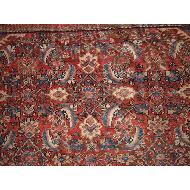 Antique Mahal rug in original condition. Traditional Persian Mahal rug in bright red color with some blue and cream...