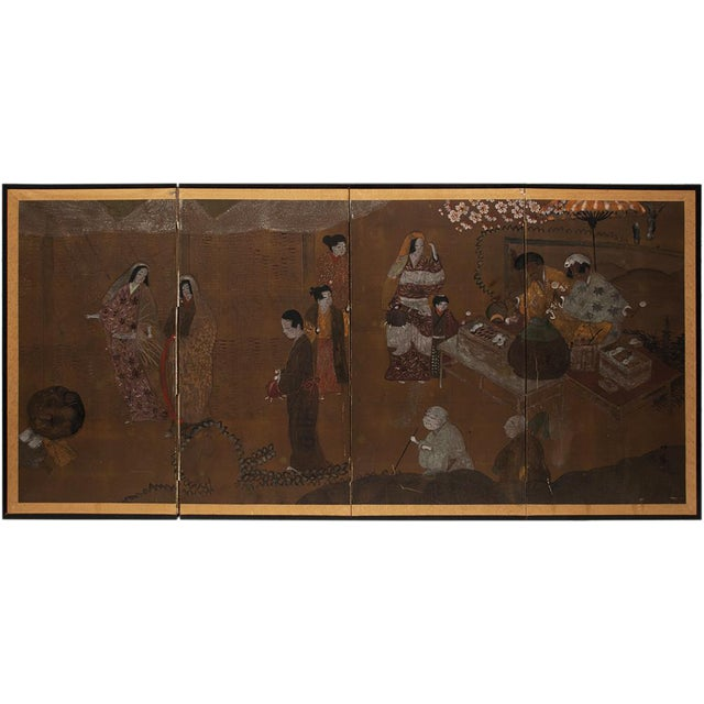 C. 1920s Japanese Market Scene Gold Leaf Byobu Screen For Sale