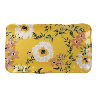 Kenneth Ludwig Chicago Bee Floral Melamine Tray For Sale
