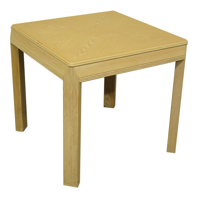 """20th Century Transitional Drexel Heritage Collection Contemporary Blonde 27"""" Square Accent Table For Sale"""