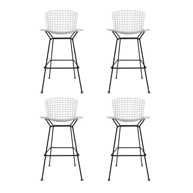 Vintage Harry Bertoia Bar Stools Black and White For Sale - Image 9 of 9