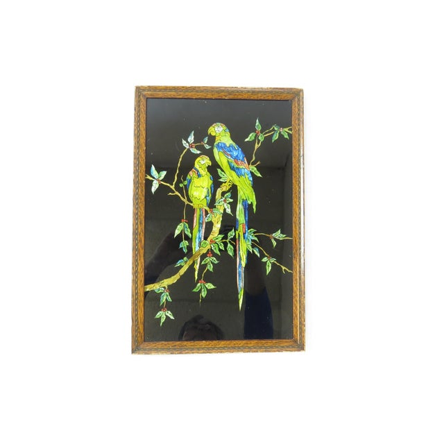 Antique Americana Folk Art Tinsel Painting of Tropical Birds For Sale - Image 9 of 9