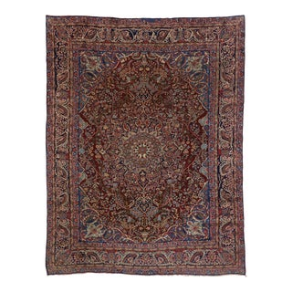 Vintage Persian Yazd Area Rug - 09'08 X 12'07 For Sale
