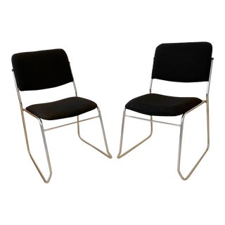 1990s Tubular Chrome Stacking Chairs With Black Wool Upholstery- A Pair For Sale
