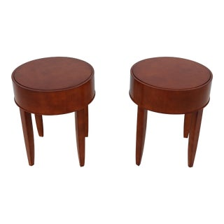 Modern Brayton International George Simons Donovan Round Cherry Wood Occasional Tables - a Pair For Sale