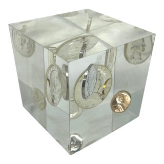 Vintage Pop Art Lucite Money Cube For Sale