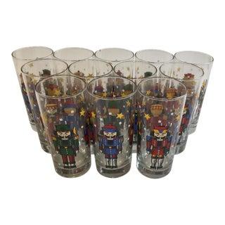 Nutcracker Christmas Highball Mid Century Glasses - Set of 12 For Sale