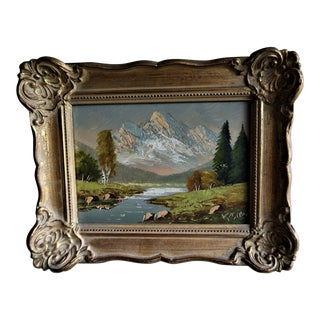 1960's Vintage Original Landscape Signed Oil Painting in Rococo Frame by Kesten For Sale