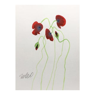 Red Poppies B , Original Watercolor For Sale