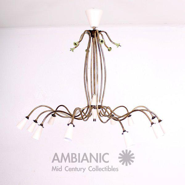 Mid-Century Modern 12 Arm Chandelier For Sale - Image 9 of 9