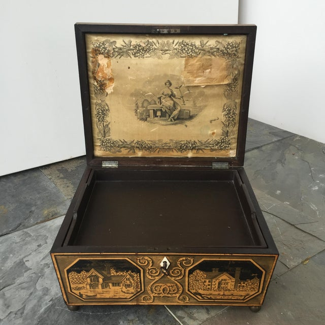 Early 19th Century 19th Century English Pen-Work Decorated Box For Sale - Image 5 of 6