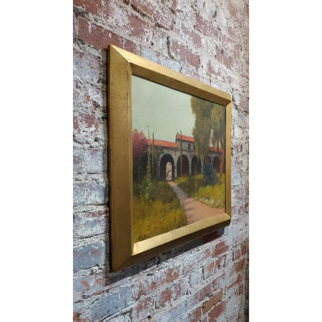Brown William Barr -Mission Capistrano c1920s -Impressionist California Oil painting For Sale - Image 8 of 10