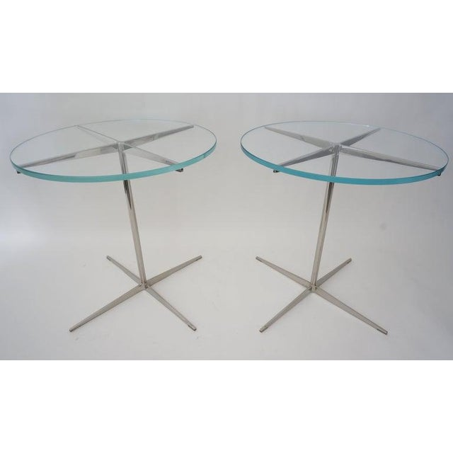 Silver Vintage Drinks or Side Tables Glass on Polished Steel Pedestal - a Pair For Sale - Image 8 of 12