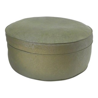 Mid Century Modern Round Avocado Green Ottoman For Sale