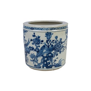 Blue and White Porcelain Floral Bird Motif Flower Pot For Sale
