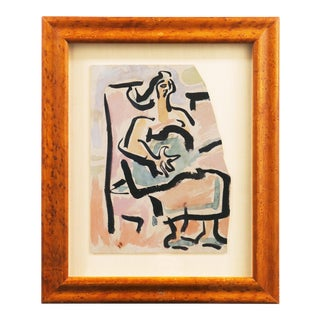 'Woman With Guitar' by Victor Di Gesu, Paris, Louvre, Académie Chaumière, California Post-Impressionist, Sfaa For Sale