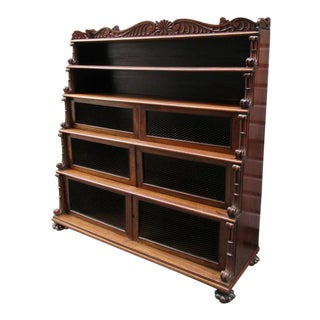 Early 19th Century West Indies Bajan Rosewood Tiered Bookcase with Shell Motif For Sale