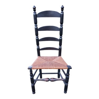 Antique Early American Ladderback Chair With Rushing For Sale