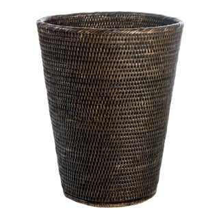 Artifacts Rattan Round Taper Waste Basket For Sale