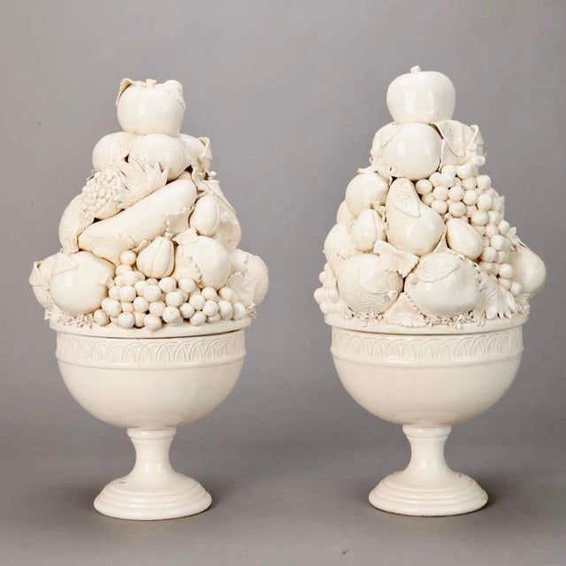 Tall Italian Porcelain Fruit Compotes - A Pair - Image 2 of 5