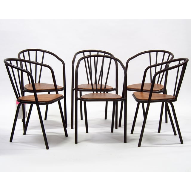 Mid-Century Metal and Wood Armchairs - Set of 6 For Sale - Image 9 of 9