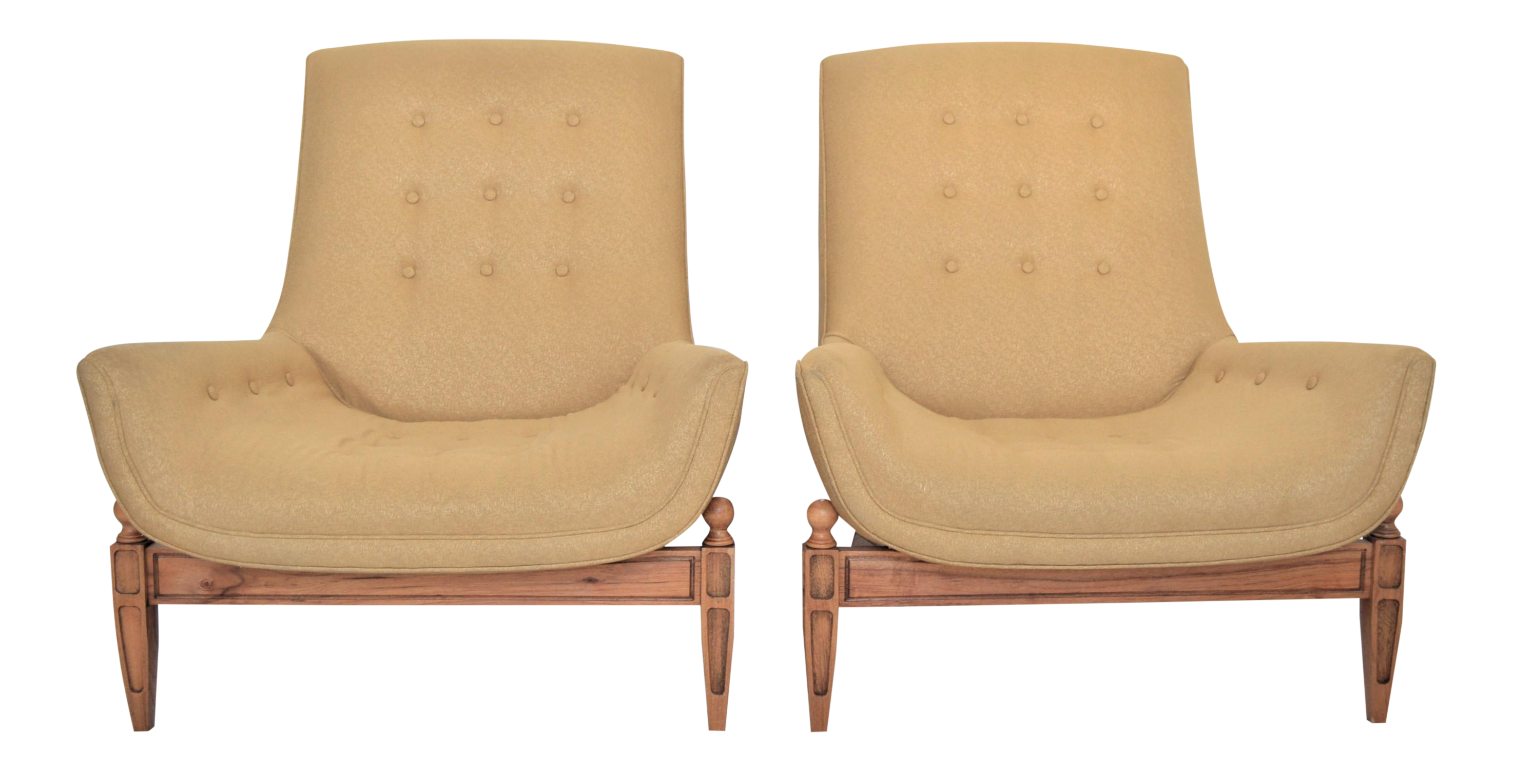Adrian Pearsall Inspired Mid Century Modern Upholstered Gondola Lounge  Vintage Club Chairs McM  A Pair