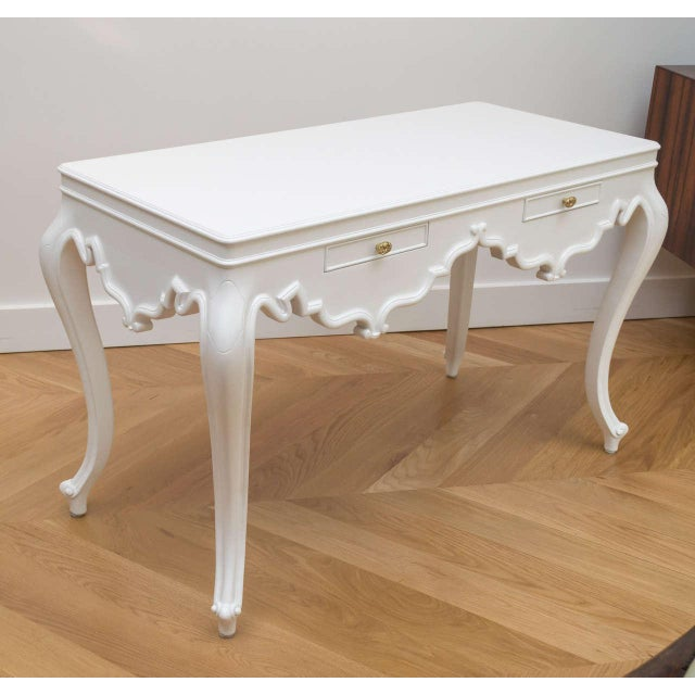 Lacquer Italian Lacquered Partner Desk For Sale - Image 7 of 10