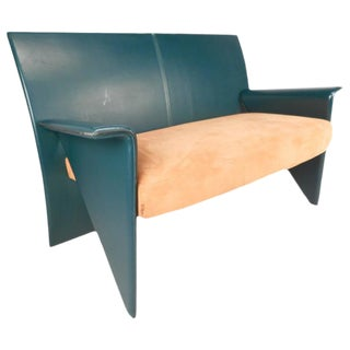 Mid-Century Modern Italian Leather Settee For Sale