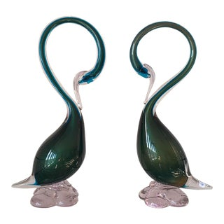 Murano Glass Swans Teal Blue & Green - a Pair For Sale