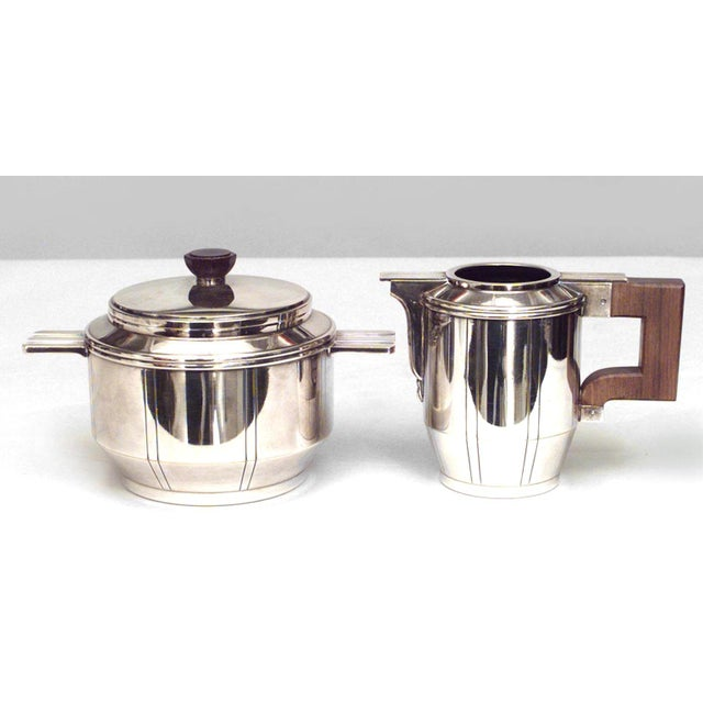 French Art Deco silver plated five-piece tea set with fluted design and rosewood handles (tray, sugar, creamer, 2...