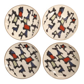 Mid-Century Brutalist Style Noritake Plates - Set of 4 For Sale