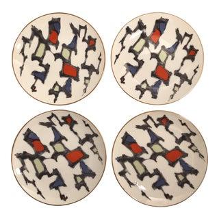Porcelain Brutalist Dessert Plates - Set of 4