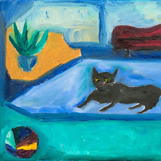 Interior With Black Cat Painting - Image 2 of 4