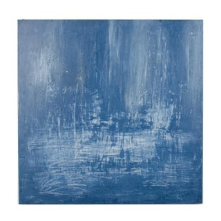 2019 Blue Abstract Venetian Plaster Painting by Carol L. Post For Sale