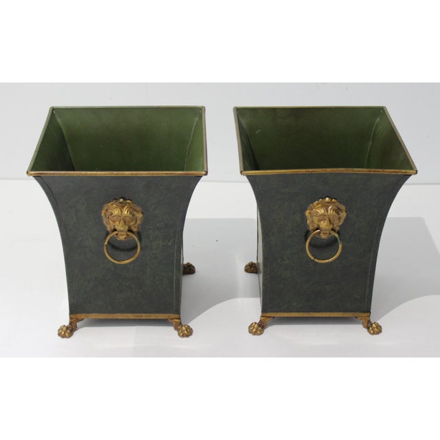 Vintage Dark Green Cachepot With Lion Handles - a Pair For Sale In West Palm - Image 6 of 10